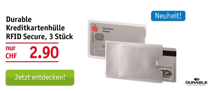 Durable Kreditkartenhülle RFID Secure, 3 Stück
